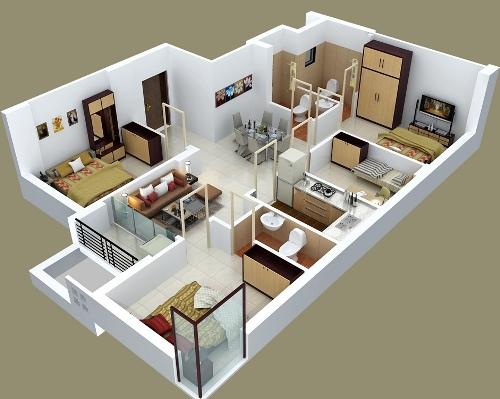 6 Type Denah Desain Foto Eksterior Rumah Minimalis Modern 1